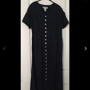Orvis Linen Blend Dress Navy Blue